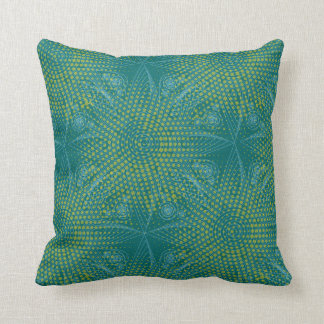 Abstract tribal snowflake with halftones throw pillow