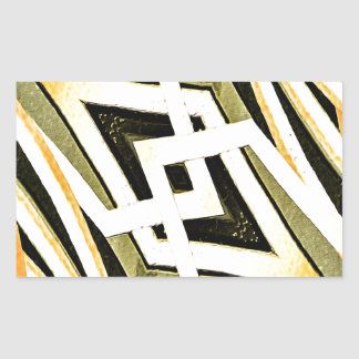 Abstract Tribal Style Geometric Pattern Rectangular Sticker