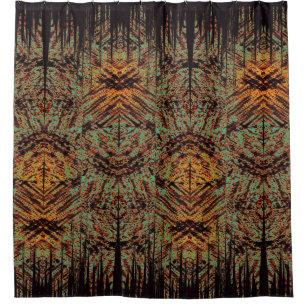 Abstract Tribal Tiki Design Black Green Orange Shower Curtain