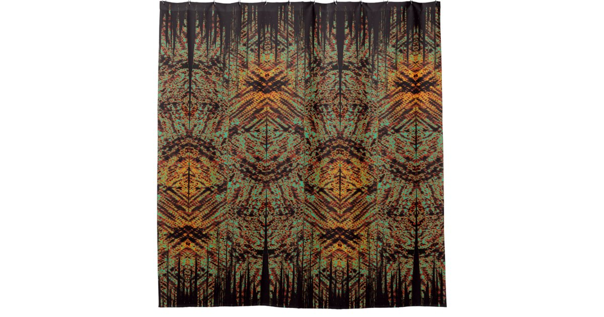 Abstract Tribal Tiki Design Black Green Orange Shower Curtain