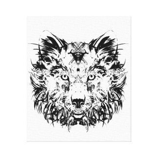 Abstract Tribal Wolf Canvas Print