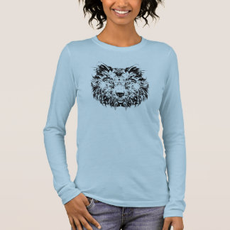 Abstract Tribal Wolf Long Sleeved Shirt