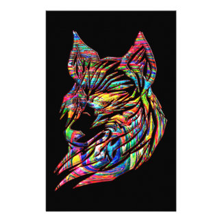 Abstract Tribal Wolf Stationery