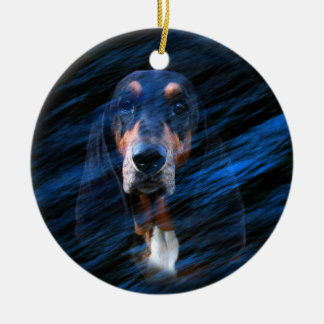 Abstract tricolor Basset Hound Ceramic Ornament