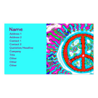 Abstract Trippy Peace Sign Business Card Templates