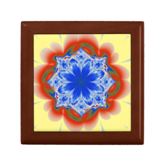 Abstract Tropical Blue Flower Plant Jewelry Box