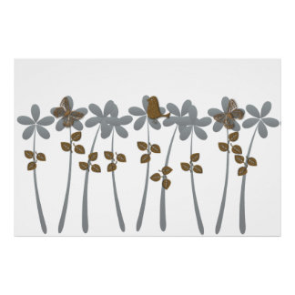Abstract Tropical Garden Gold Grey Flowers Poster