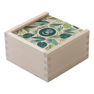 Abstract Tropical Green Seamless Pattern Wooden Keepsake Box