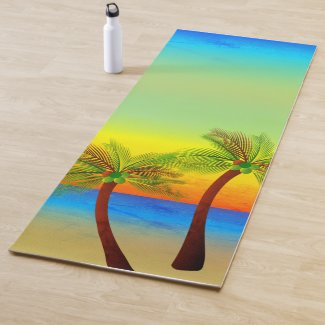 Abstract Tropical Life Palm Trees Seascape Yoga Mat