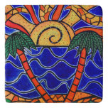 Abstract  Tropical Sunset Trivet