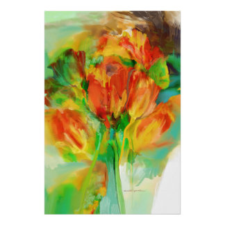 Abstract tulip study poster