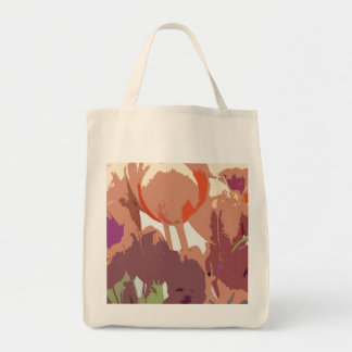 ABSTRACT TULIPS TOTE BAG GROCERY TOTE BAG