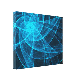 Abstract Tulles Star Computer Art in Blue Canvas Print