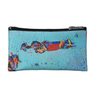 Abstract Turquoise African Woman Bag Makeup Bags