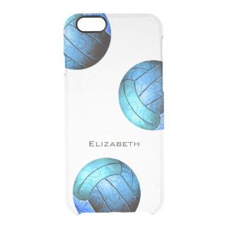 abstract turquoise girls volleyball clear iPhone 6/6S case