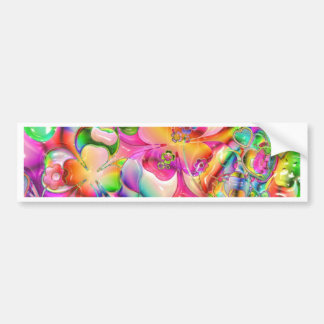 Abstract Twisted Color Flowers Bumper Sticker