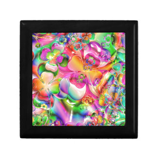 Abstract Twisted Color Flowers Trinket Box