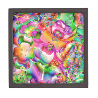 Abstract Twisted Color Flowers Premium Jewelry Boxes
