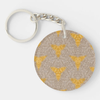 Abstract two colored pattern Double-Sided round acrylic keychain