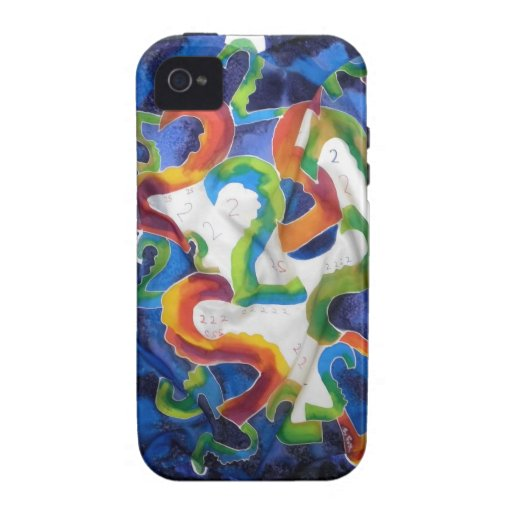 abstract  twos blues, orange , white,  green Case-Mate iPhone 4 covers