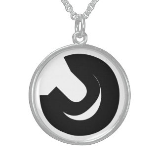 abstract typographic composition 1 round pendant necklace