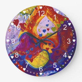 Abstract Underground – Crimson & Iris Hearts Large Clock
