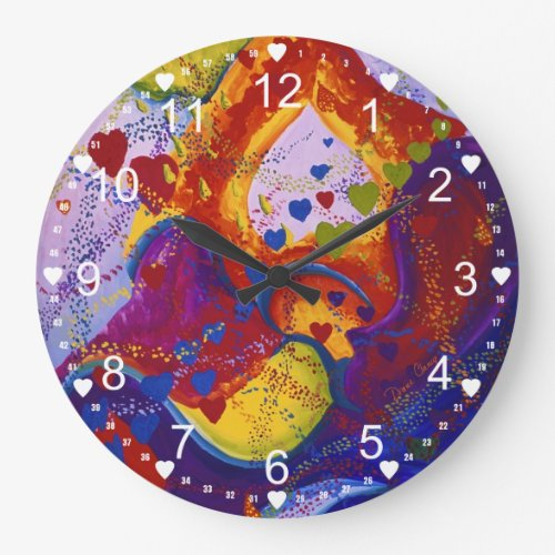 Abstract Underground – Crimson & Iris Hearts Large Clock