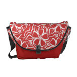 Abstract Urban Floral White & Brick Red Messenger Bag