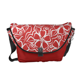 Abstract Urban Floral White & Brick Red Messenger Bags