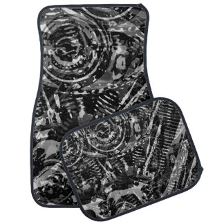 Abstract V-Twin BW Car Floor Mat