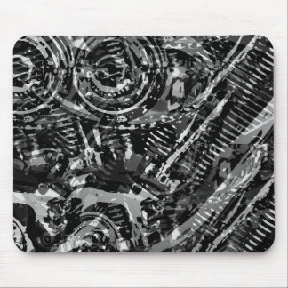 Abstract V-Twin BW Mouse Pad