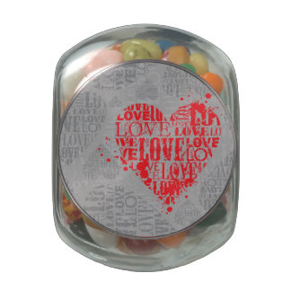 Abstract Valentine's Typography Card Glass Jar