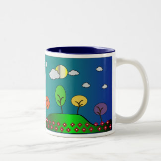 Abstract Valleys, Hills and Trees Landscape Two-Tone Coffee Mug
