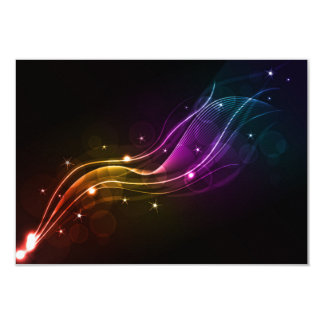 """ABSTRACT VECTOR WAVE DIGITAL ART SPACE COLORFUL 3.5"""" X 5"""" INVITATION CARD"""