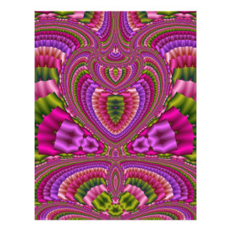 Abstract vibrant colorful fractal hearts personalized flyer