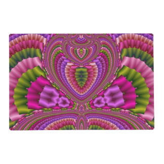 Abstract vibrant colorful fractal hearts placemat