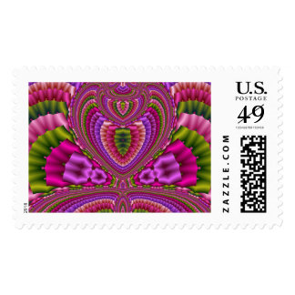Abstract vibrant colorful fractal hearts postage