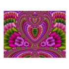 Abstract vibrant colorful fractal hearts postcard