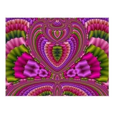 Valentines Themed Abstract vibrant colorful fractal hearts postcard