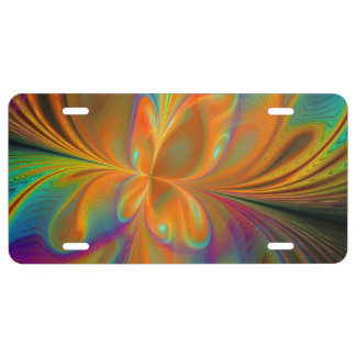 Abstract Vibrant Fractal Butterfly License Plate