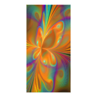Abstract Vibrant Fractal Butterfly Picture Card