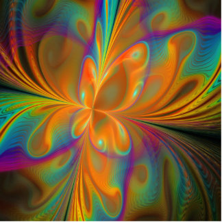 Abstract Vibrant Fractal Butterfly Photo Sculpture