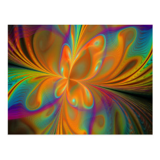 Abstract Vibrant Fractal Butterfly Post Cards