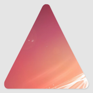 Abstract Vibrant Pink with White Lines Triangle Sticker
