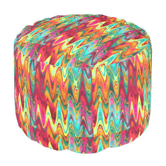 Abstract Vibrant Tropical Distortions 7 Pouf