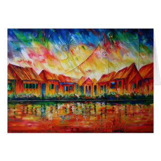 Abstract Village Cityscape XX - Notecard Cards