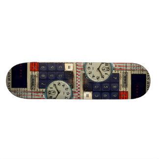 Abstract vintage calculator retro electronics custom skate board