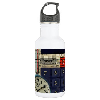 Abstract vintage calculator retro electronics stainless steel water bottle