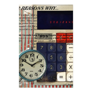 Abstract vintage calculator retro electronics stationery design