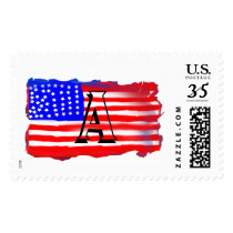 Abstract Vintage Faux 3-D USA Flag Stamps